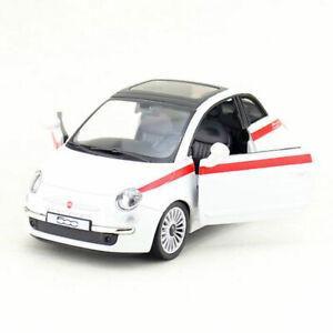 1:30 FIAT 500 modello pressofuso in lega per auto giocattolo veicolo Pull Back Bambini Bianco Regalo