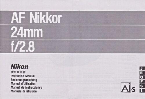 Genuino Original Nikon Cámara Lente Af Nikkor 24mm F//2.8 manual de instrucciones