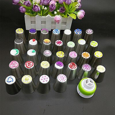 32pc Russian Tulip Flower Icing Piping Nozzles Cake Decoration Tips Baking SS