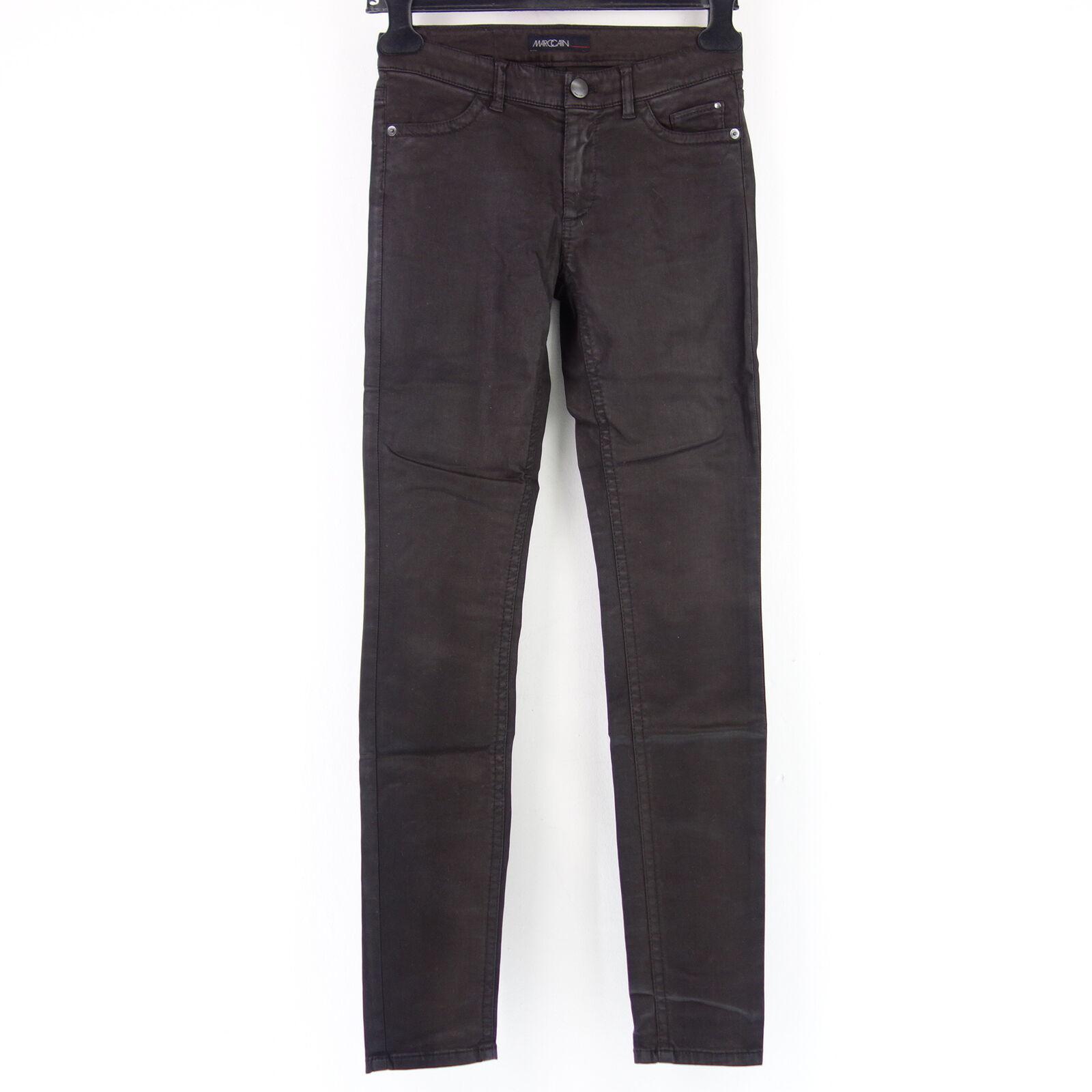 MARC CAIN Damen Jeans Hose FC8278 Gr N1 34 Schwarz Coating Lederlook NP 179 NEU