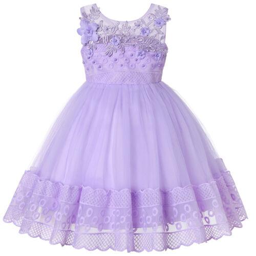 Flower Girl Dress for Baby Kid Toddler Baptism Christening Birthday Wedding Prom