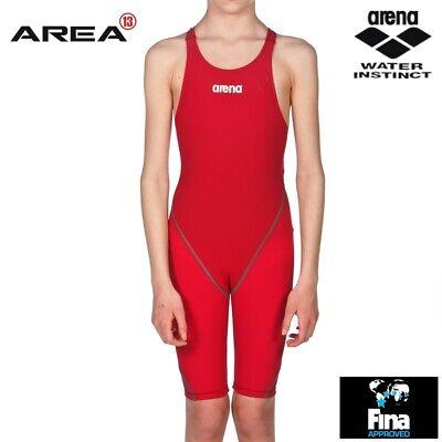 Arena Powerskin ST 2.0 Junior Girls Swimming Race Suit Deep Red Girls Racing