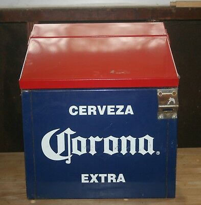 Vintage Corona Extra Cerveza Beer Metal Ice Chest Cooler from a bar w/ Opener
