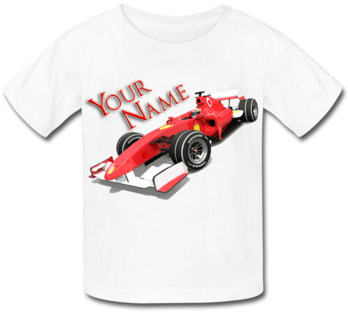 FORMULA ONE F1 RACING CAR PERSONALISED BABY T-SHIRT GIFT FOR ANY CHILD /& NAMED