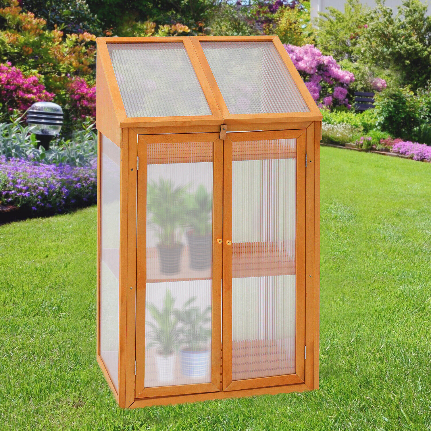 Clear Greenhouse Wood Cold Frame 3 Tier Flowers Plants Stand Growing Box Planter
