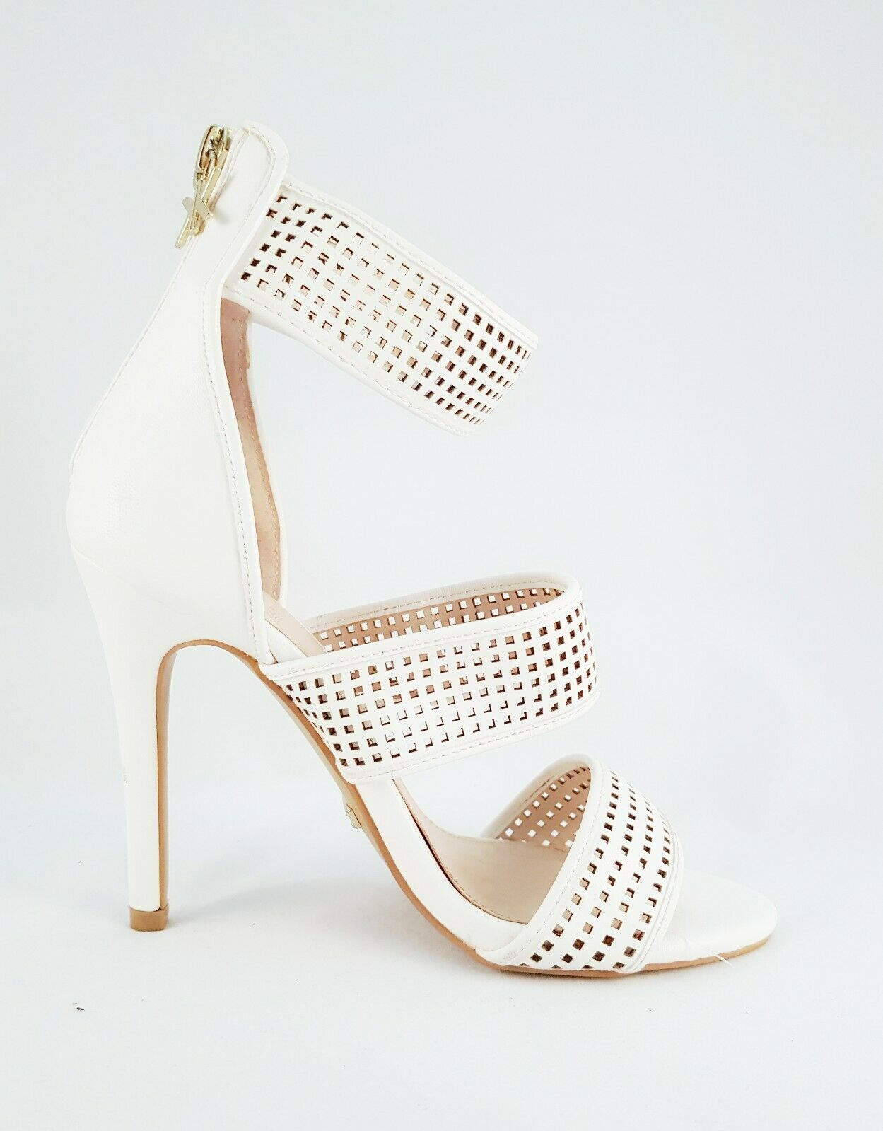KARDASHIAN KOLLECTION blanc Ankle Wrap with Zipper & Charm Stiletto Heels Taille 6