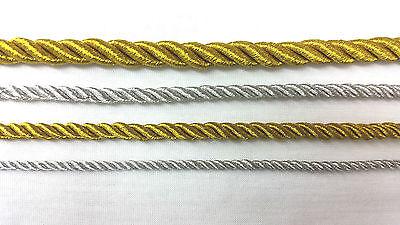 Razionale Tubazione Metallica Fune, Argento / Oro String Cord, 1,5,10 O 22metre-