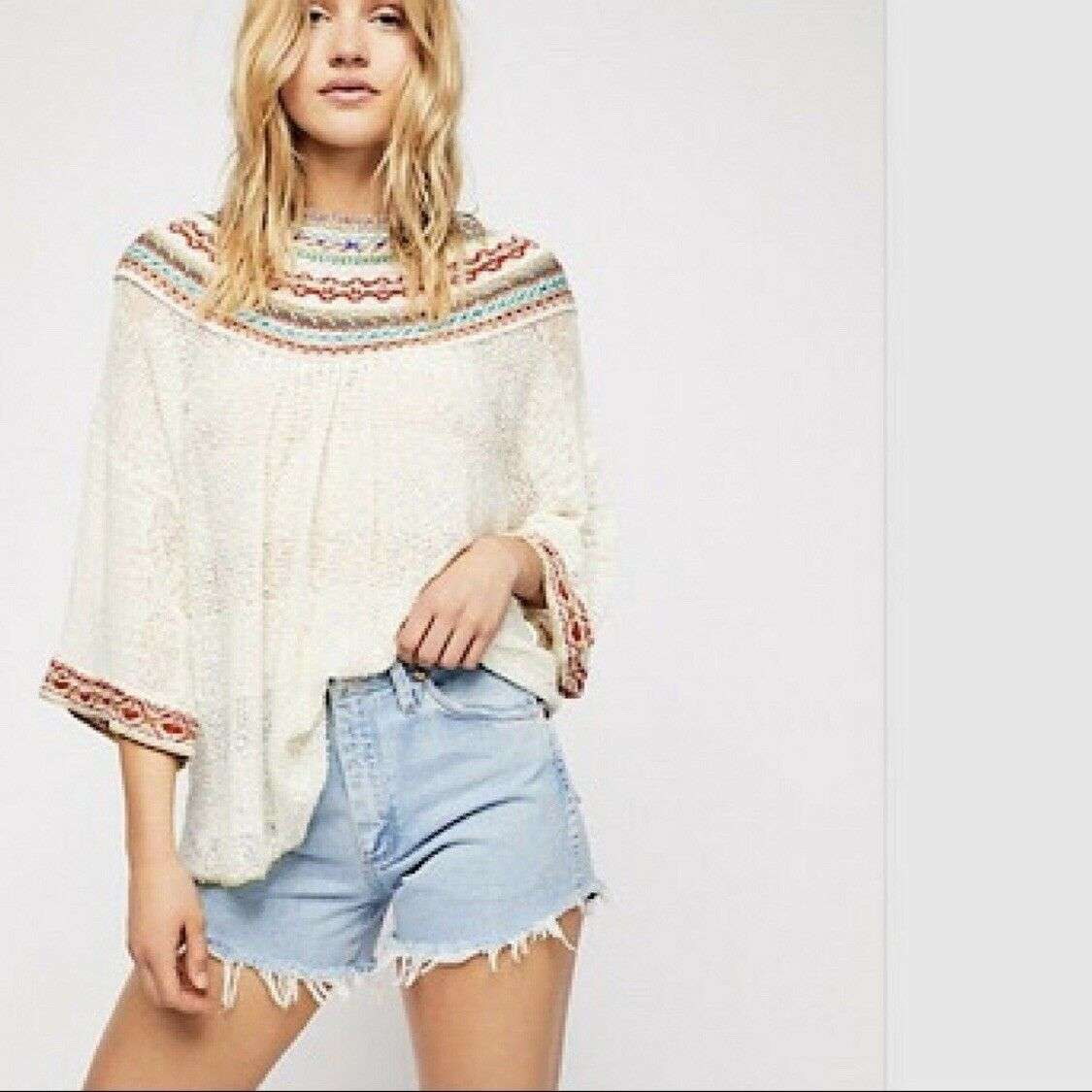 BNWT FREE PEOPLE Vacation Embroidered Sweater Knit Top Ivory Medium M  168 New