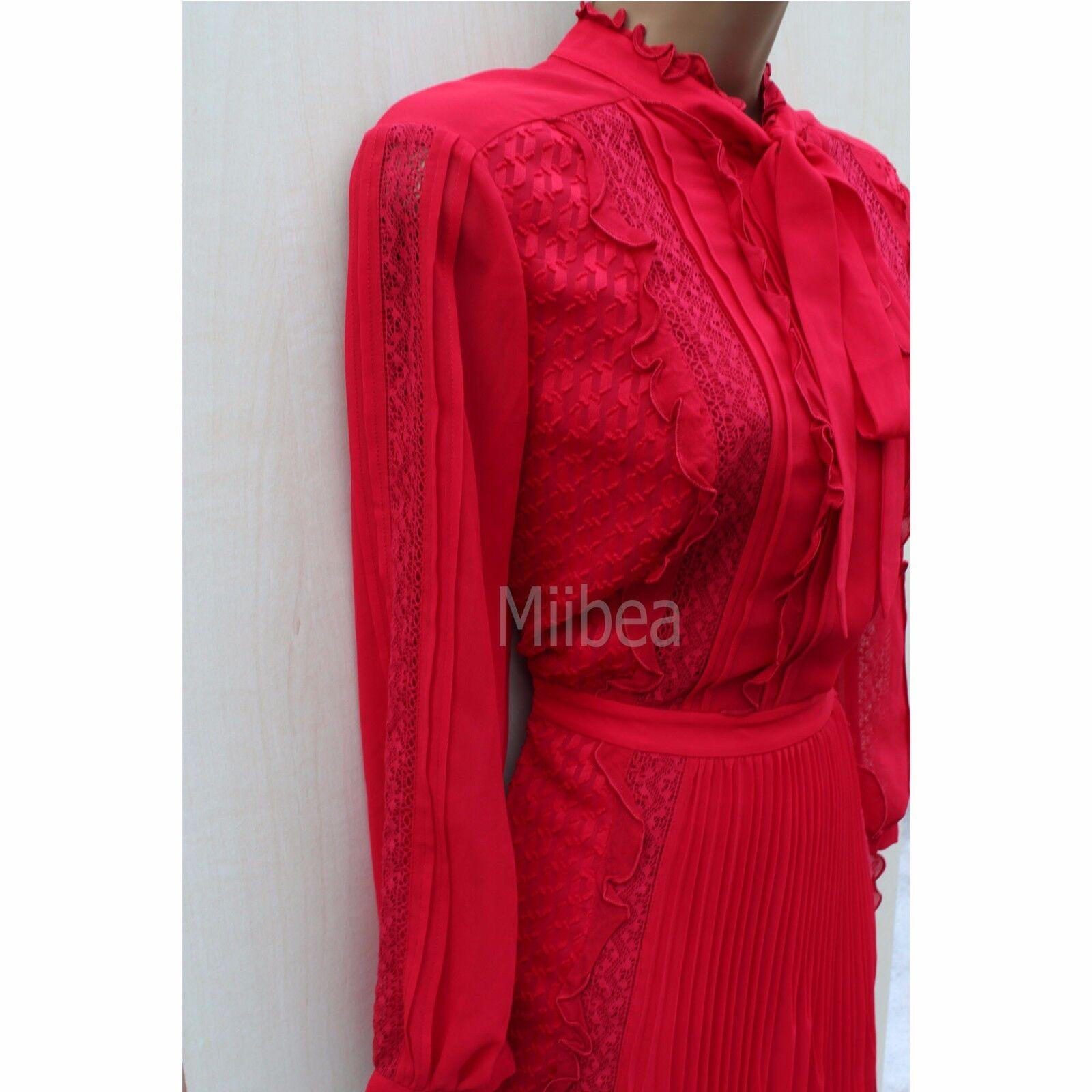 d9e5ea152546 ... NUOVO 14 UK Karen Millen Millen Millen Atelier Rosso arruffato pizzo  cravatta al collo abito tendenza ...