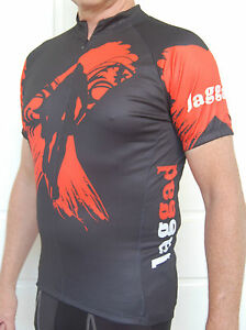 MTB-Jaggad-cycling-bike-Jersey-shirt-Mens-Womens-Black-red-size-S-M-L-XL