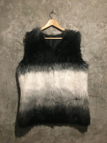 Vintage colobus monkey Faux Fur Jacket Vest Sz L