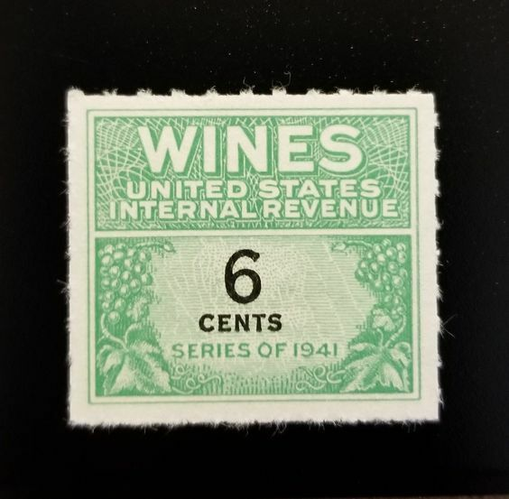1942 6c U.S. Internal Revenue, Cordial & Wine, Green Sc