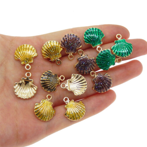 15 pcs Mini Enamel Plated Gold Metal Scallop Shell Charm Necklace Pendant DIY