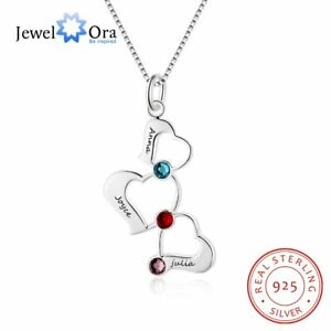 Sterling-Silver-Women-Necklace-3-Heart-Pendant-Engraved-Name-Birthstone-Mom-Gift