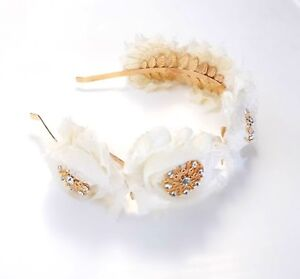Floral-Brooch-Headband-Cream-Shabby-Chic-Flowers-Gold-Rhinestone-Brooches-Races