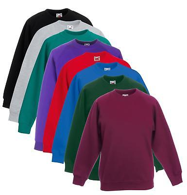 Kids Sweatshirt Boys /& Girls Fruit of the Loom Raglan Sweatshirt School SS271