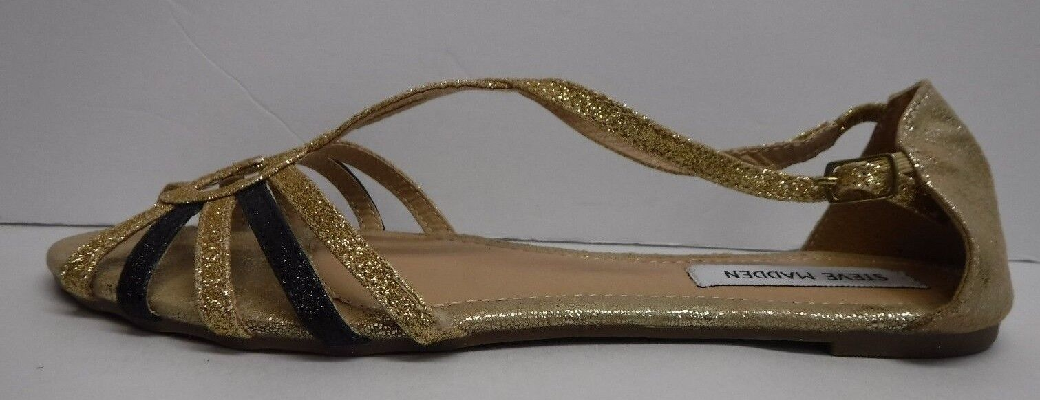 Steve Madden Taille 9.5 or Glitter Flats New femmes chaussures