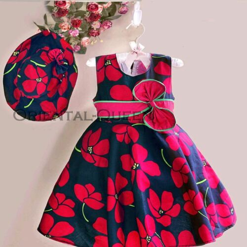 Baby Toddler Children Girls Clothes New Sleeveless Floral Dress+Hat