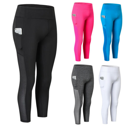 Womens Compression Tights 3//4  Running Yoga Workout Pants with Pocket High Waist