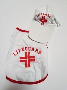 ef2f5bd6fa2f LIFEGUARD Dog T-shirt & Matching Sun Hat Cap Pet Outfit Beach ...
