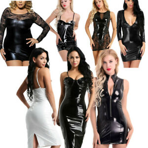 Womens-Cocktail-Party-Wet-Look-Faux-Leather-Bodycon-Clubwear-Mini-Pencli-Dress