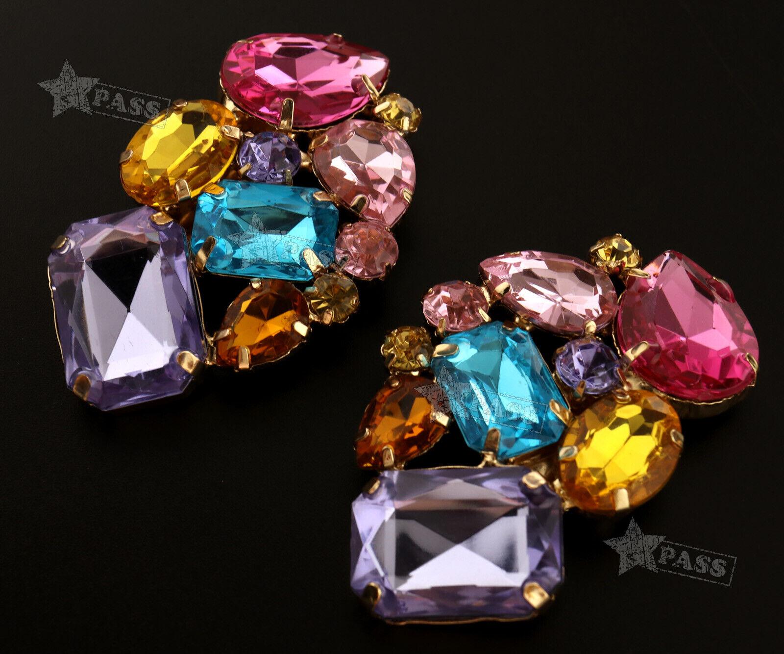 2Pcs Crystal Shoe Clips Charm Bridal Rhinestone Shoes Multicolor Decor
