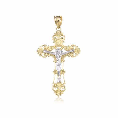 14K Solid Yellow White Gold Filigree Crucifix Cross Pendant Jesus Necklace Charm