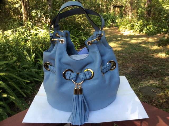 a63bd9bd0875 Michael Kors Braided Grommet Dusty Blue Large Leather Shoulder Bag. +.  $249.99Brand New