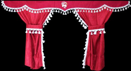 TRUCK LKW MAN TGA TGX XXL Passform Gardinen Vorhänge Scheibengardinen Rot Weiß