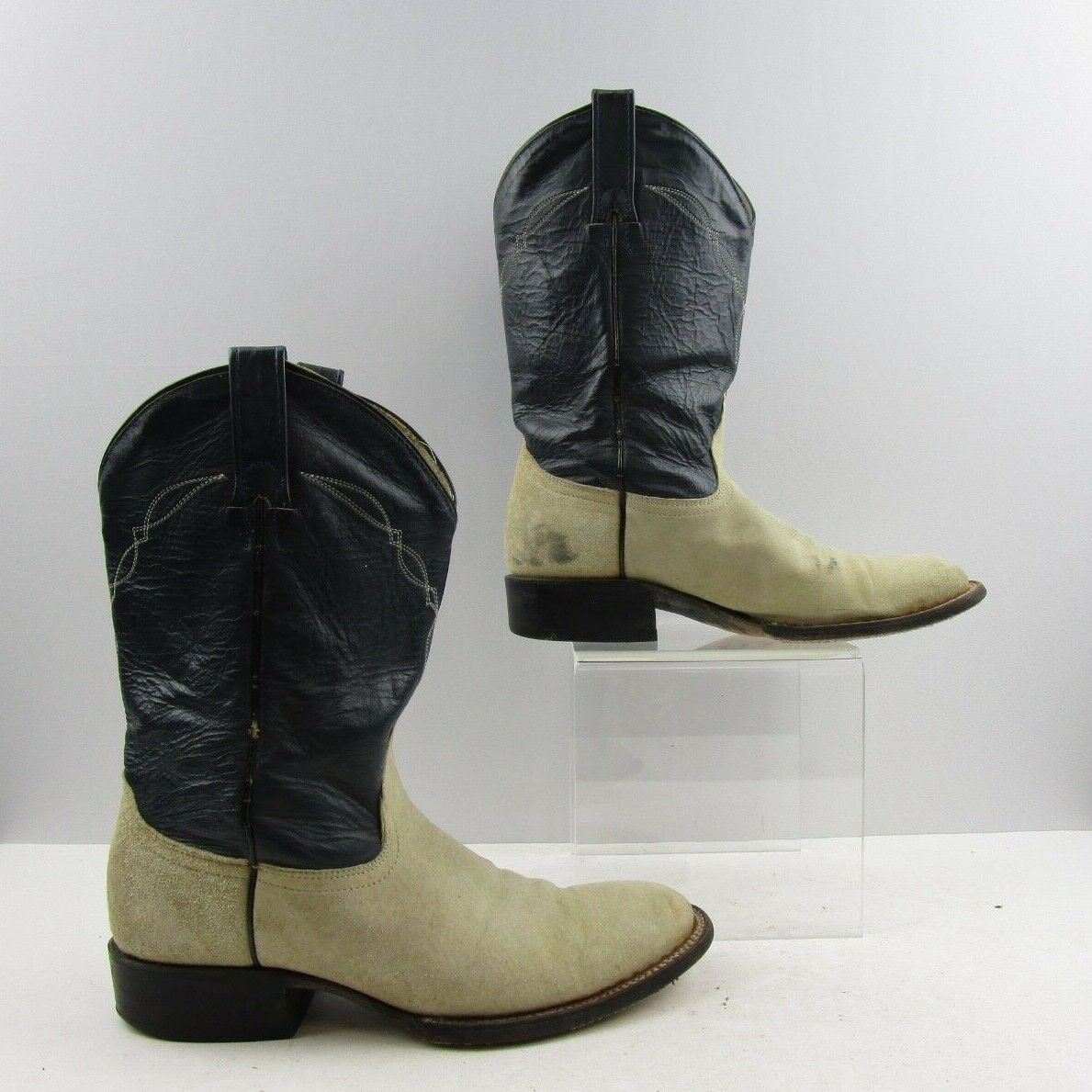 Men's Cowtown Two Tone Navy Biege Suede Leather Western Roper Boots Size  8 D