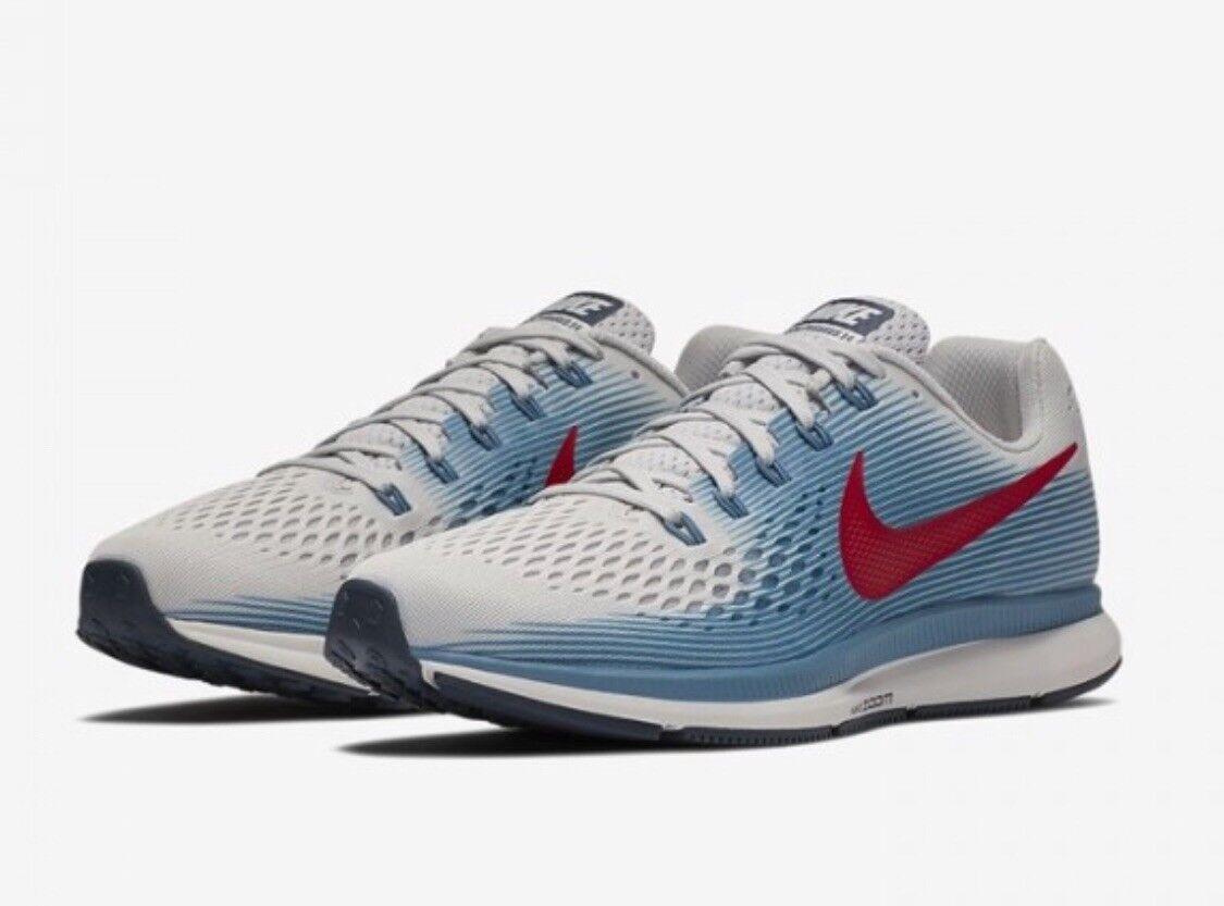 Nike Air Zoom Pegasus 34 UK 7.5 EU 42 Running Gris/Bleu/Rouge