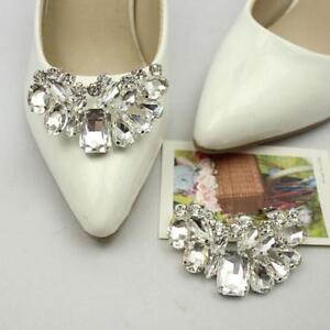 Image Is Loading Rhinestone Crystal Bow Sparkle Bridal Wedding Shoe Clips