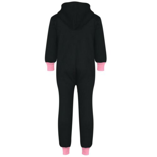 Kids Girls A2Z Onesie One Piece Fleece Baby Pink Contrast All In One Jumpsuits.