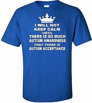 I will not keep calm Autism awareness t shirt Short Sleeve Royal Blue