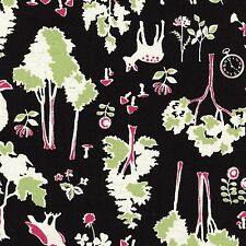 By 1/2 Yard Kokka Canvas Fabric ~ Alice In Wonderland Forest in Black ~ Watch