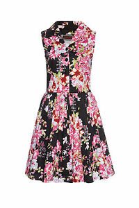 Women-039-s-Pink-And-Black-Floral-Print-50s-Rockabilly-Retro-Vintage-Flared-Dress