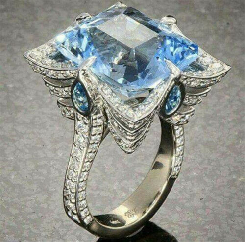 Exquisite Aquamarine 925 Silver Ring Engagement Rings Fashion Jewelry Size 6-10