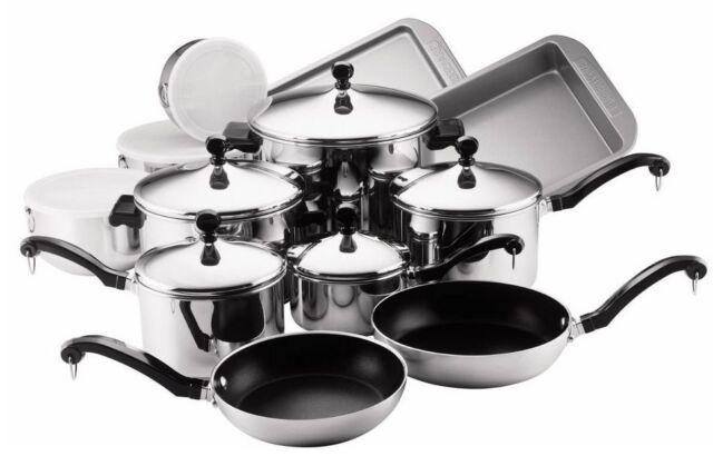 17 Piece Stainless Steel Cookware Set Non Stick Pots Pans Lids Kitchen Dinner