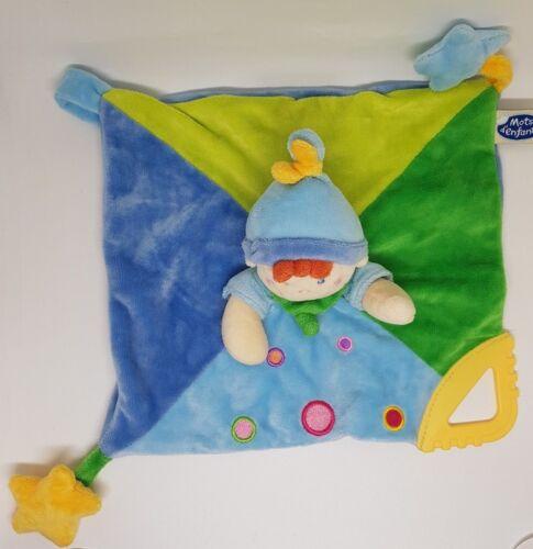 DOUDOU MOTS D/'ENFANTS PLAT LUTIN GARCON BLEU VERT ROND ETOILE FOULARD NEUF