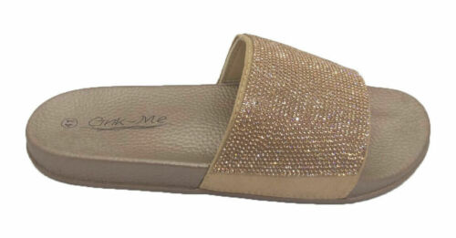 NEW  Ladies Womens Slip On Slipper Sliders Dimante Sparkly Sandals Shoes 8-10