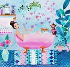 Mila Marquis*Postkarte*14x14*Frau liest*Pfau*Glitzer-Tropfen*Herbst*Grußkarte