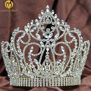 Large-7-034-Full-Round-Crown-Beauty-Pageant-Tiara-Crystal-Headband-Wedding-Prom-New