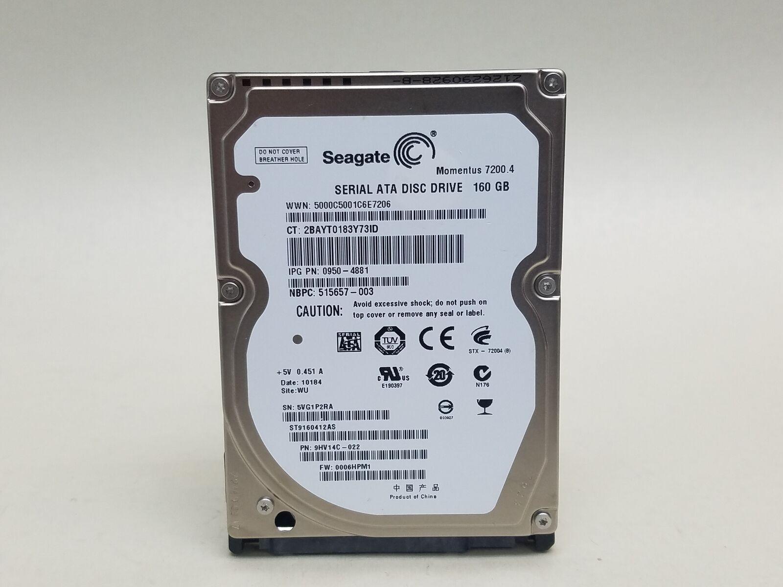 "2.5/"" Laptop Hard Drive Seagate ST9160412AS 160 GB,SATA,Internal,7200 RPM,16 MB"
