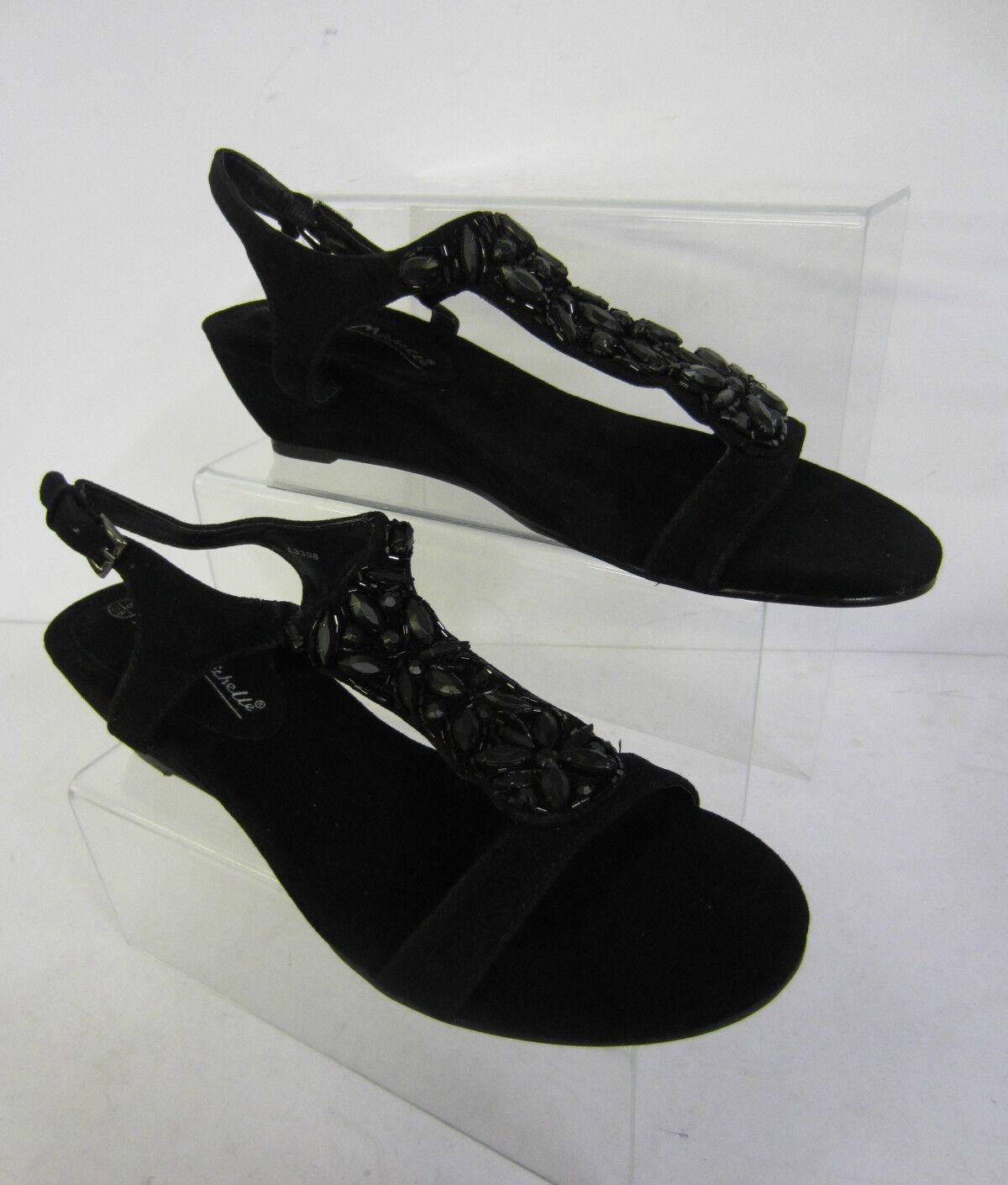 SIGNORE PICCOLE Sandali con alla zeppa dettaglio perline nero cinturino alla con caviglia b0d7e1