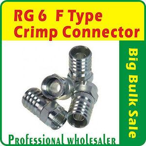 1000-x-RG6-F-Type-Crimp-Connector-FTA-Pay-Tv-Satellite-Bulk-Sale-Free-Postage