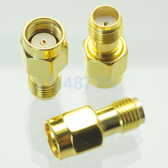 1pce Adapter RP.SMA male jack to SMA female connector straight gold plating