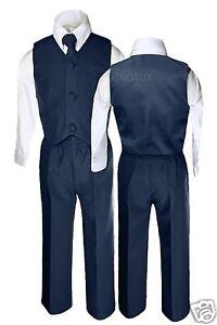 New-Infant-Toddler-Boy-Wedding-Formal-Party-Vest-Suit-Navy-S-M-L-XL-2T-3T-7