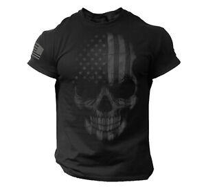 Skull USA Distressed Men T Shirt American Flag Tee Gym Biker