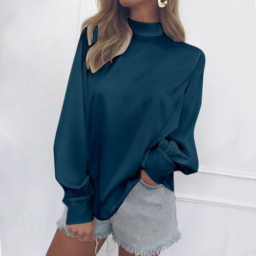 Womens High Neck Lantern Long Sleeve Loose Chiffon Blouse Shirt Tops OL Blouse
