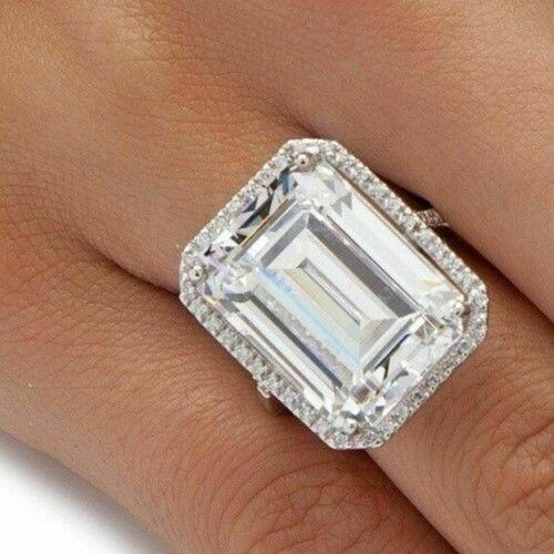 Big 9.88carat white emerald cut diamond 14k white gold engagement /& wedding ring